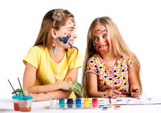 Due ragazze dipinte Immagine Stock