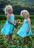 Due ragazze e girasoli immagini stock libere da diritti