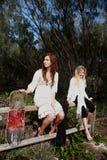 Due ragazze e schede del pattino Fotografie Stock Libere da Diritti