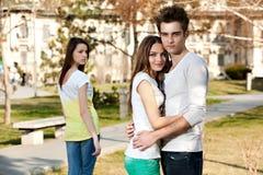Due ragazze e un ragazzo Fotografia Stock Libera da Diritti