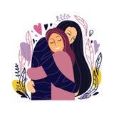 Due ragazze felici abbracciano strettamente e sorridono Isolato su priorit? bassa bianca illustrazione di stock