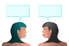 Due ragazze parlano di illustrazione vettoriale