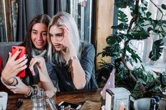 Due ragazze pranzando in un caffè e facendo selfie Fotografia Stock Libera da Diritti
