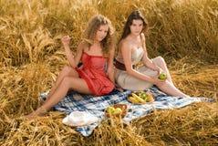 Due ragazze sul picnic nel campo di frumento Immagini Stock Libere da Diritti