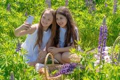 Due ragazze teenager fanno il selfie su un telefono fra i fiori in un campo un giorno soleggiato immagini stock