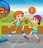 Due ragazzi che giocano pallacanestro fuori illustrazione vettoriale