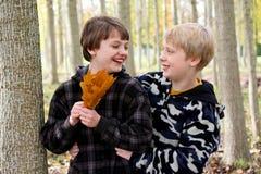 Due ragazzi che ridono nella foresta di caduta Immagini Stock Libere da Diritti