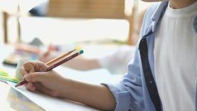 Due ragazzi disegnano diligente Amicizia dei bambini archivi video