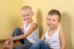 Due ragazzi felici Fotografia Stock