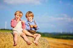 Due ragazzi, gemelli e fratelli germani del bambino sedentesi il giorno di estate caldo sulla pila del fieno Fotografie Stock