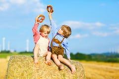 Due ragazzi, gemelli e fratelli germani del bambino sedentesi il giorno di estate caldo sulla pila del fieno Fotografia Stock