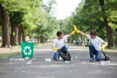 Due ragazzi svegli che puliscono il territorio e che si danno cinque su un fondo vago del parco Protezione di ecologia Immagini Stock Libere da Diritti