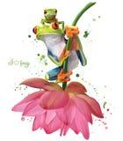 Due rane verdi che si siedono su un disegno dell'acquerello del fiore illustrazione di stock