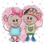 Due ratti del fumetto su un fondo del cuore illustrazione di stock