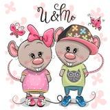 Due ratti del fumetto su un fondo dei fiori illustrazione di stock