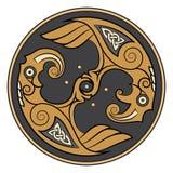 Due Ravens di Dio Odin In Scandinavian Style Huginn e Muninn royalty illustrazione gratis