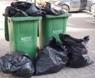 Due recipienti dei rifiuti Fotografia Stock