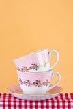 Due retro teacups di stile Fotografia Stock