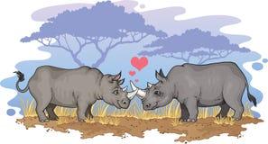 Rhinos nell'amore Immagini Stock Libere da Diritti