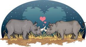 Rhinos nell'amore Fotografie Stock Libere da Diritti