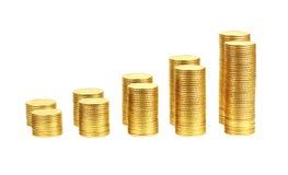 Due righe delle monete gialle Fotografie Stock