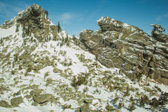 Due rocce coperte di neve Fotografia Stock