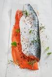 Due Salmon Fillets con le erbe Fotografia Stock Libera da Diritti