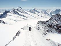 Due scalatori di montagna su una cresta stretta nelle alpi svizzere con una vista spettacolare della regione di Aletsch Immagini Stock Libere da Diritti
