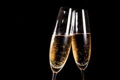 Due scanalature di champagne Fotografia Stock Libera da Diritti