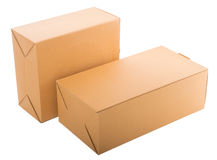 Due scatole di cartone chiuse isolate sopra fondo bianco Fotografia Stock Libera da Diritti