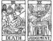 Due schede di Tarot descrivono v.9 Immagine Stock