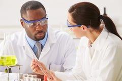 Due scienziati che eseguono esperimento nel laboratorio Fotografie Stock Libere da Diritti