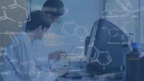 Due scienziati che parlano ad un computer termial con i dati nella priorità alta illustrazione di stock