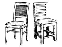 Due sedie isolate su fondo bianco Illustrazione di vettore in uno stile di schizzo Fotografia Stock Libera da Diritti