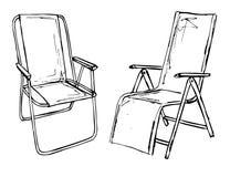 Due sedie pieghevoli su un isolamento bianco del fondo Illustrazione di vettore in uno stile di schizzo Fotografia Stock Libera da Diritti