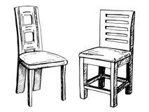 Due sedie su fondo bianco Illustrazione di vettore in uno stile di schizzo Immagini Stock Libere da Diritti