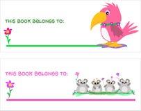 Due segnalibri con il pappagallo ed i mouse Fotografia Stock