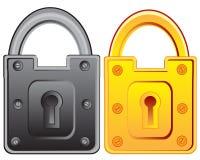 Due serrature dalla porta Fotografie Stock Libere da Diritti