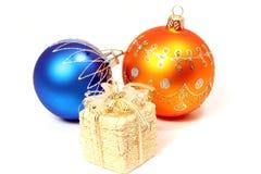 Due sfere celebratorie di colore arancione e blu Fotografia Stock