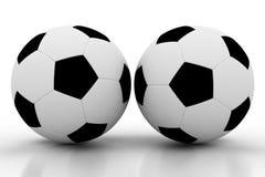 Due sfere di calcio su bianco Fotografia Stock Libera da Diritti