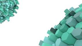 Due sfere di hexagone nell'illustrazione di colori verdi 3d Fotografia Stock Libera da Diritti