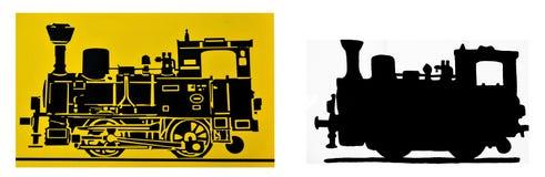 Due siluette d'annata della locomotiva a vapore Immagine Stock