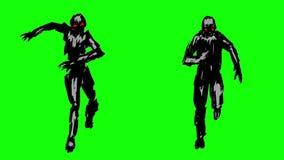 Due siluette degli zombie correnti sulla macchina fotografica royalty illustrazione gratis
