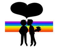 Due siluette nere dei ragazzi in arcobaleno Fotografie Stock Libere da Diritti