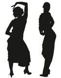 Due siluette nere del ballerino femminile di flamenco illustrazione vettoriale