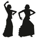 Due siluette nere del ballerino femminile di flamenco illustrazione di stock