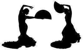 Due siluette nere del ballerino femminile di flamenco royalty illustrazione gratis