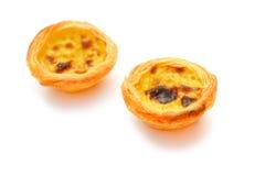 Due singole crostate portoghesi dell'uovo immagini stock libere da diritti