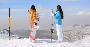 Due snowboarders delle donne che godono della vista di inverno Immagini Stock