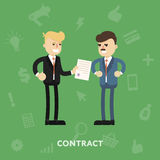 Due soci commerciali che firmano un documento Fotografia Stock Libera da Diritti